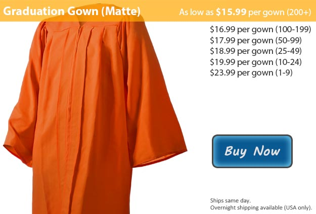 Matte Orange Graduation Gown Picture