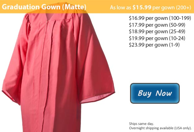 Matte Pink Graduation Gown Picture